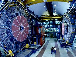 Scientists at CERN use the enormous ALEPH detector in their search for the Higgs particle. photo: CERN