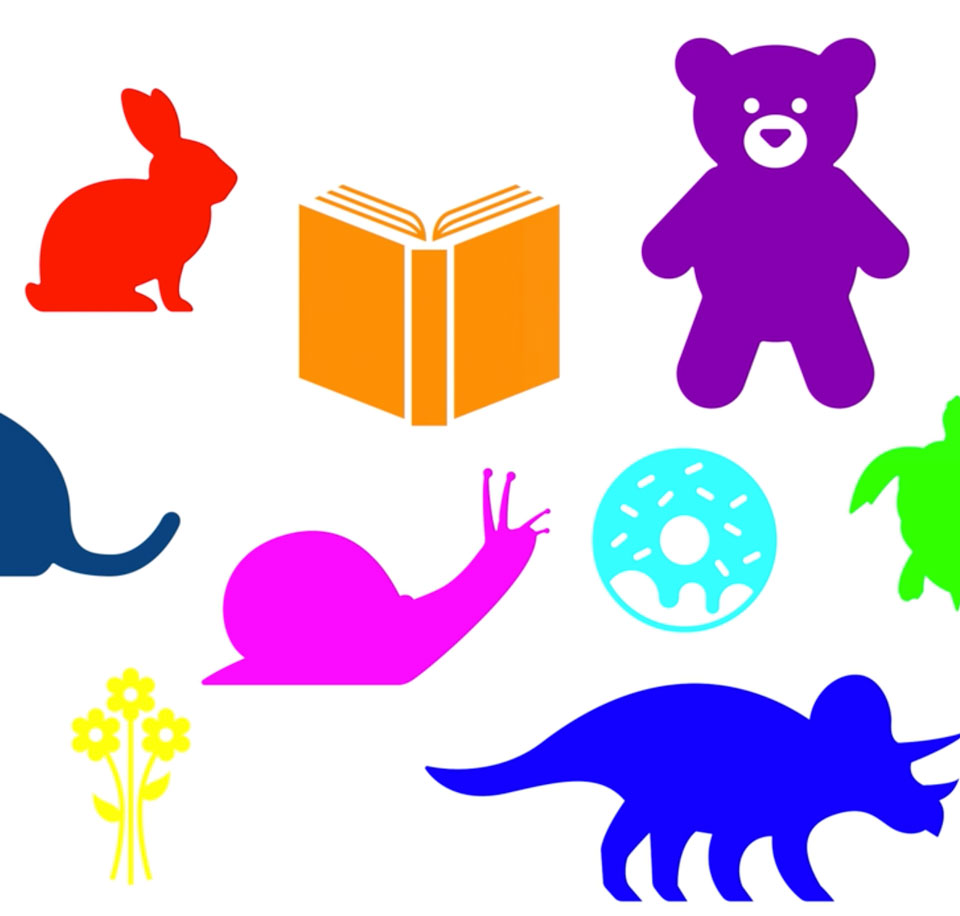 solid color icons of animals, a book and flowers on white background