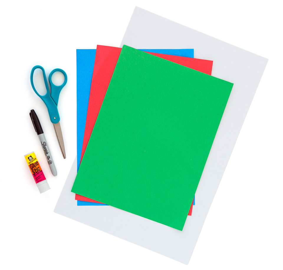 Bright Red Green And Blue Construction Paper