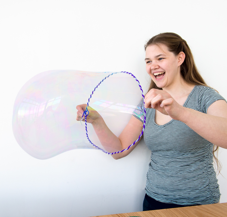 Science activity demonstrating the physics of bubbles
