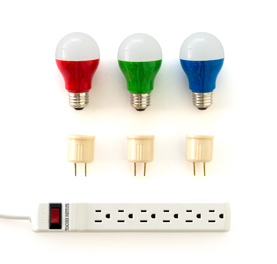 Red Green And Blue Lightbulbs