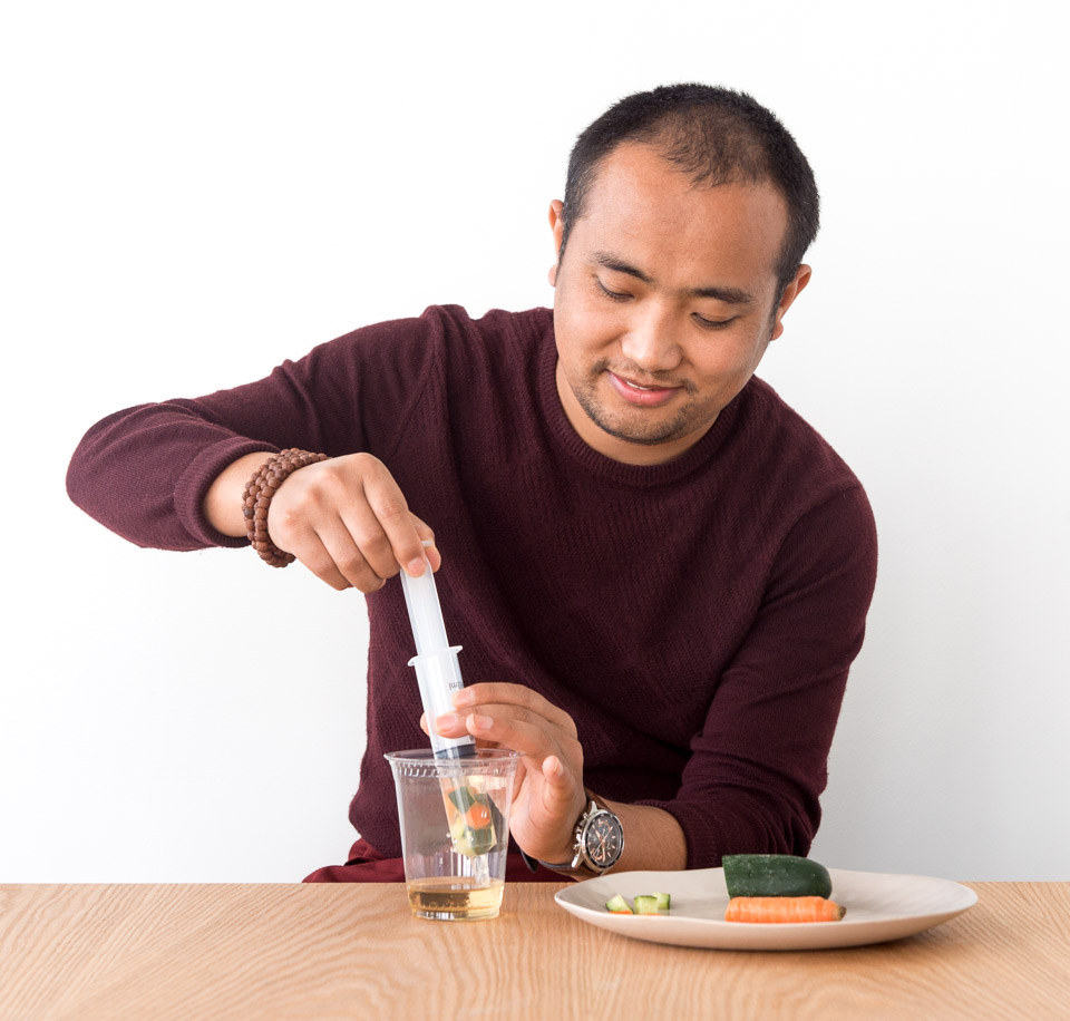 Science activity that infuses vegetables with a tasty brine—instantly—using a syringe
