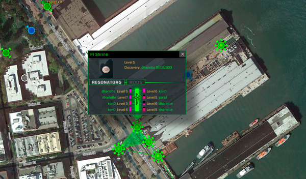Ingress mobile augmented reality game screenshot showing locations at Piers 15-17