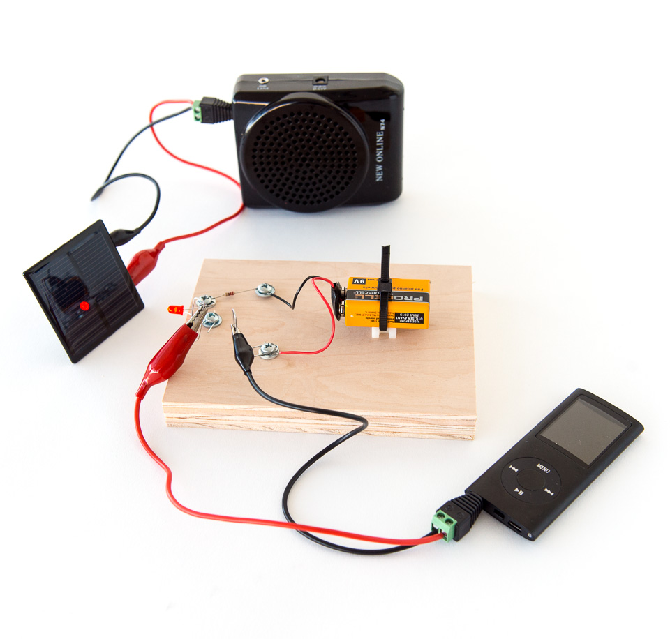 Science activity that explores audio signal transmission