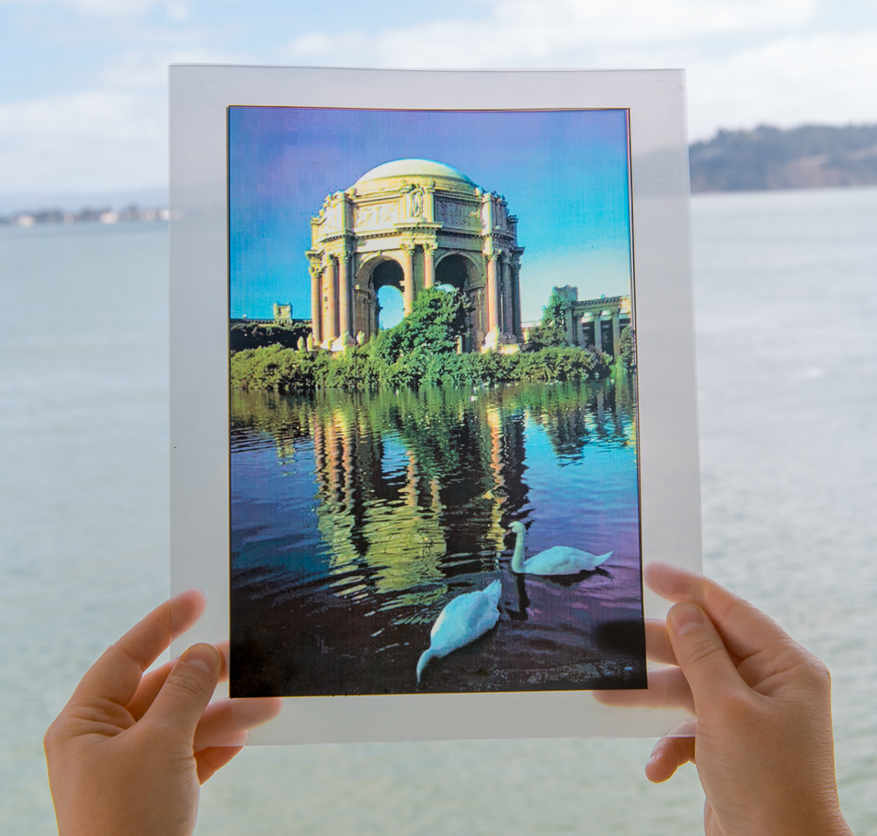 Cyan, magenta, yellow and black transparencies combine to make a full-color image.