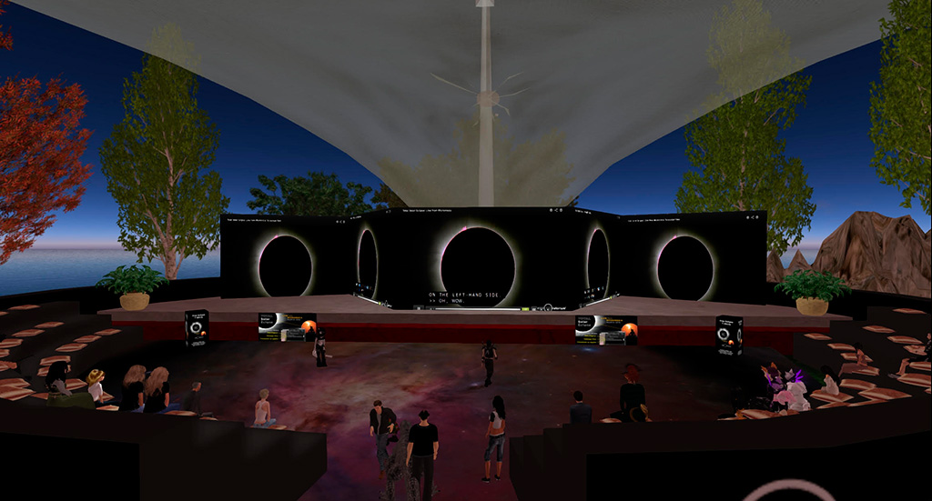 Avatars on Exploratorium Island sim watch the Total Solar Eclipse: Live from Micronesia webcast