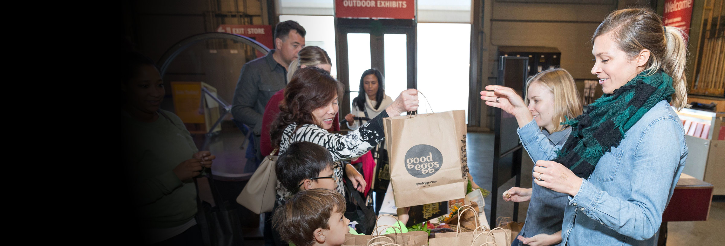 Visitors collecting thier good eggs gift bags at Wonder Funday
