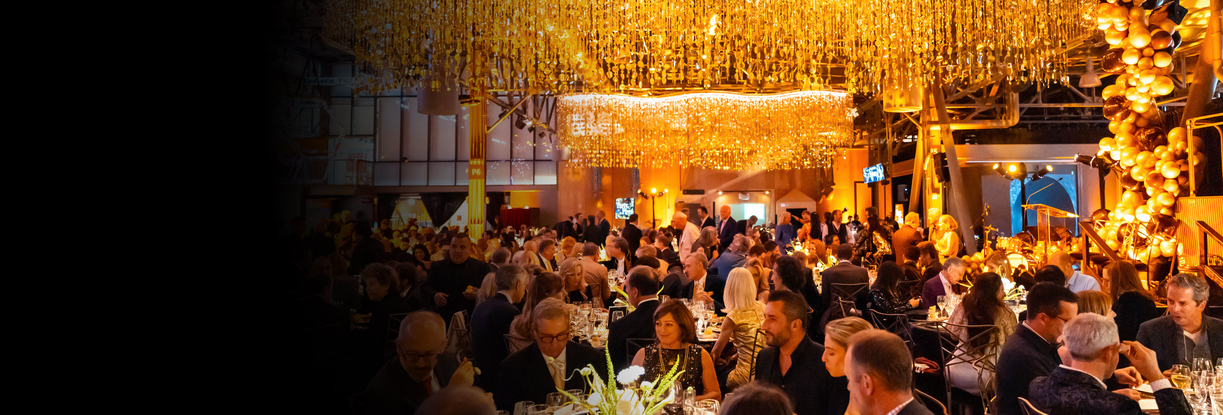 View of people dining at an event