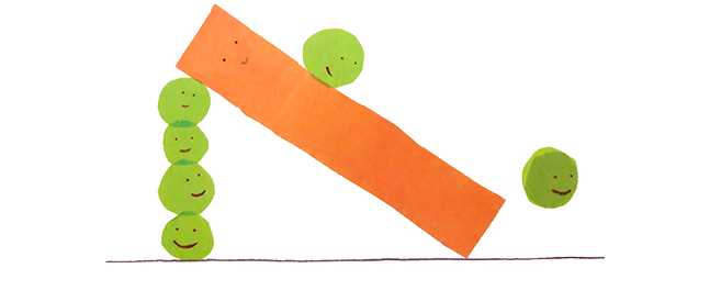 A pea slides down a carrot ramp