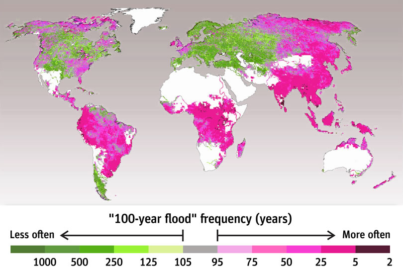 100 year flood frequency (years)