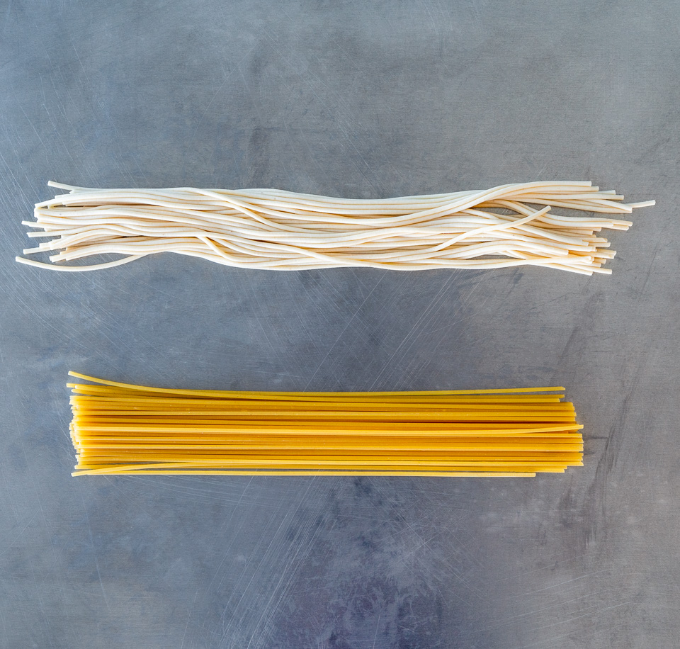 spaghetti that is presoaked and not soaked at all