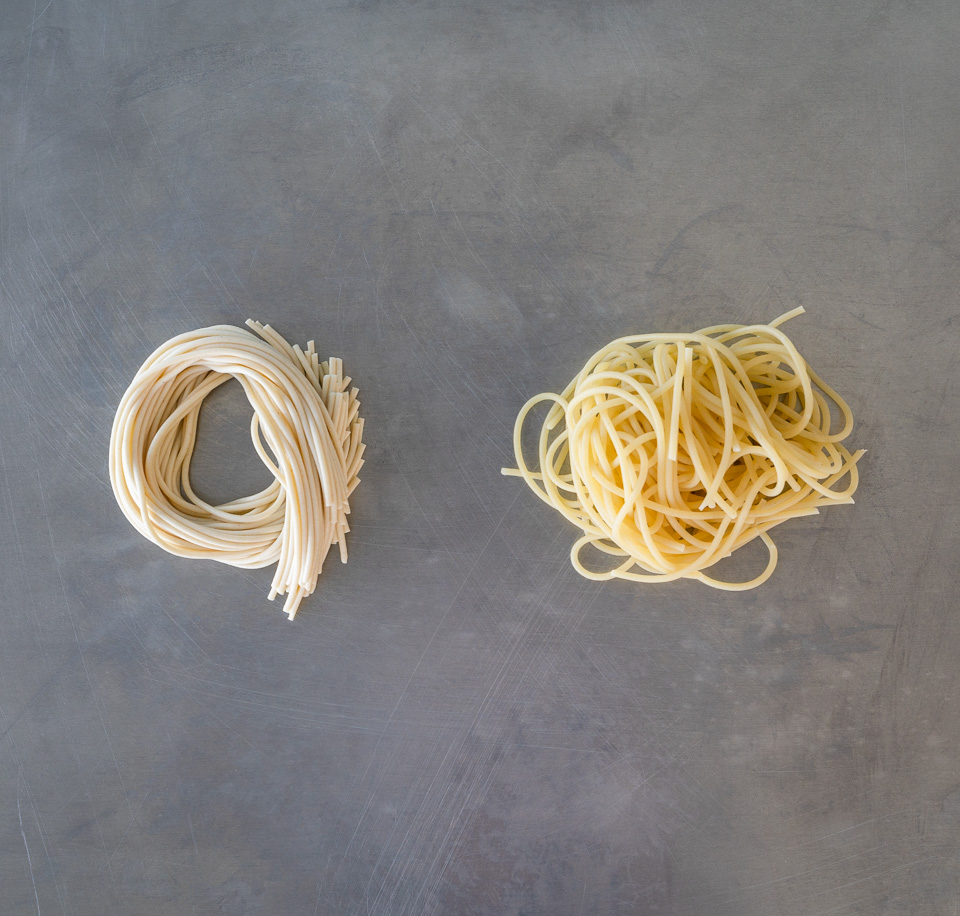 coils of spaghetti pasta at room temperature