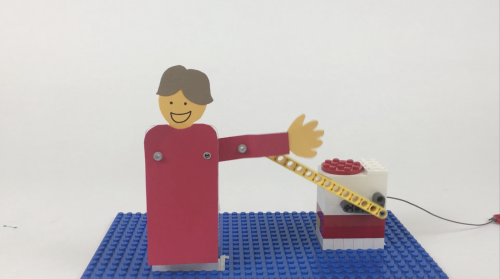 LEGO automata of a person waving an arm
