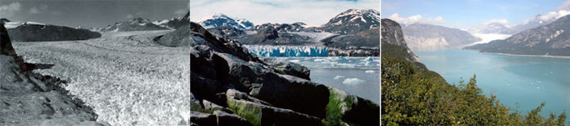 Muir Glacier, Glacier Bay, Alaska in 1941, 1976, and 2004