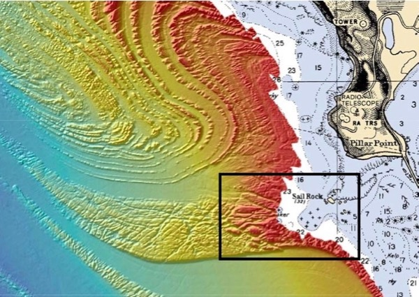 "NOAA bathymetry map off Northern California, showing ""ramp"" that concentrates waves at Maverick's break."