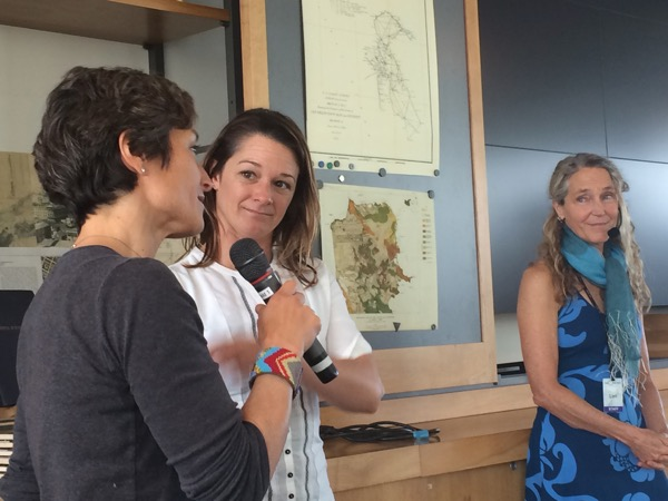 Filmmaker Sachi Cunningham (left) big-wave surfer Biana Valenti (middle) and Exploratorium educator Lori Lambertson discussing competing in Maverick's surf competition. (Photo by Steve Rackley)