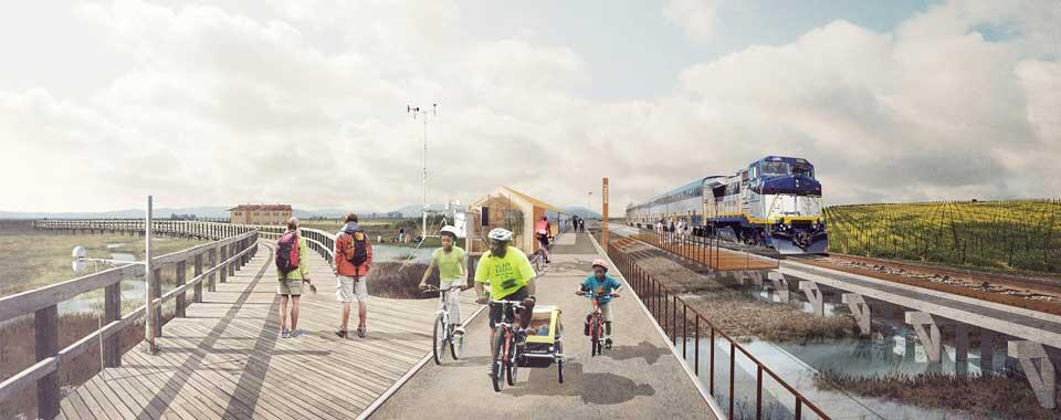 Illustration of a train and a pedestrian/bike walkway near the Bay