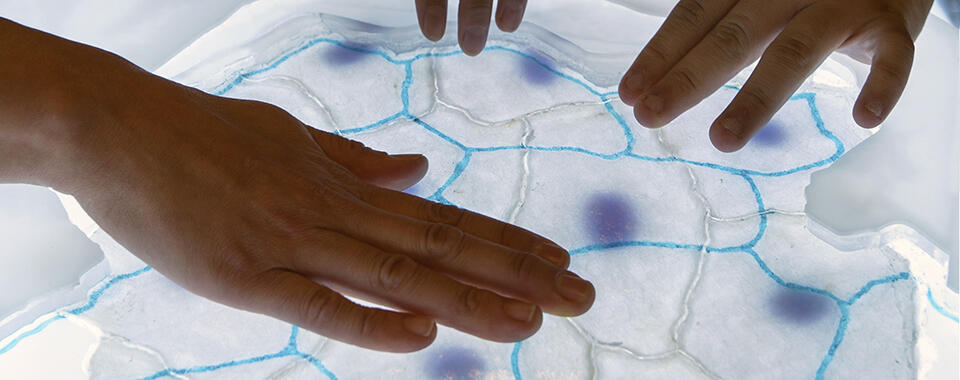 Photo of hands manipulating an image of cells on a lightbox or screen