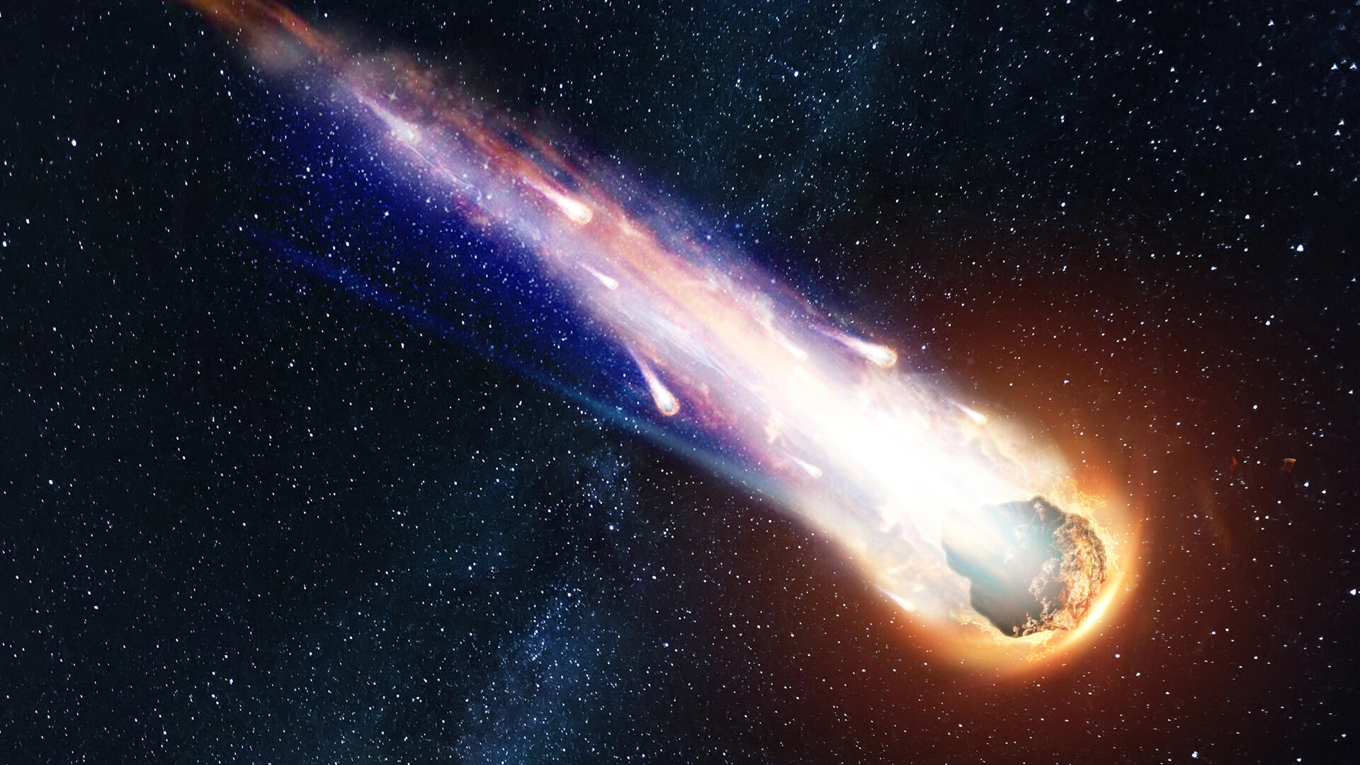 Illustration of a meteor streaking through space