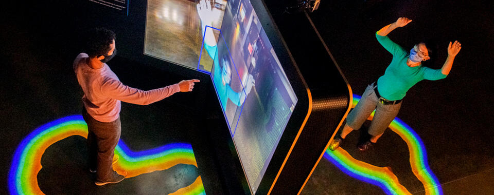 Visitors interacting with the Sensor Fusion exhibit