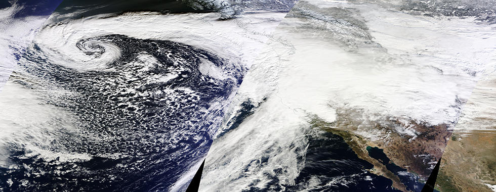 NASA satellite picture of a storm coming over the Pacific into California