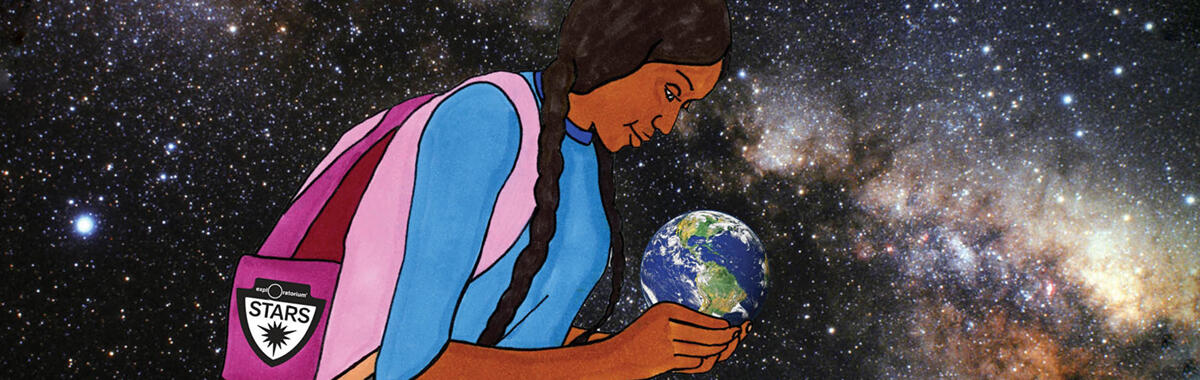 girl holding world in space