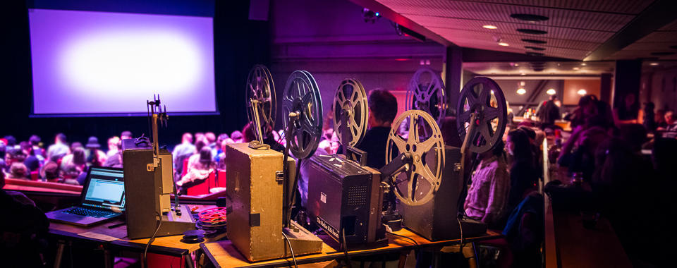 Audience for 35mm film screening.
