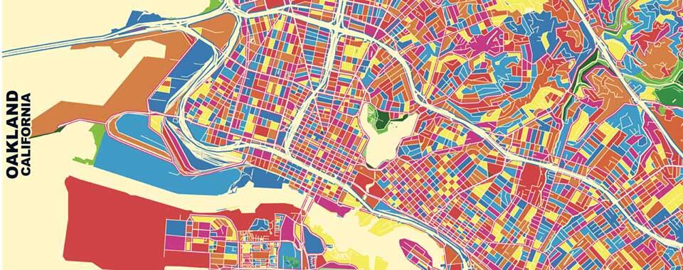 Multicolored map of Oakland California, with each block a different color of red, yellow, or blue