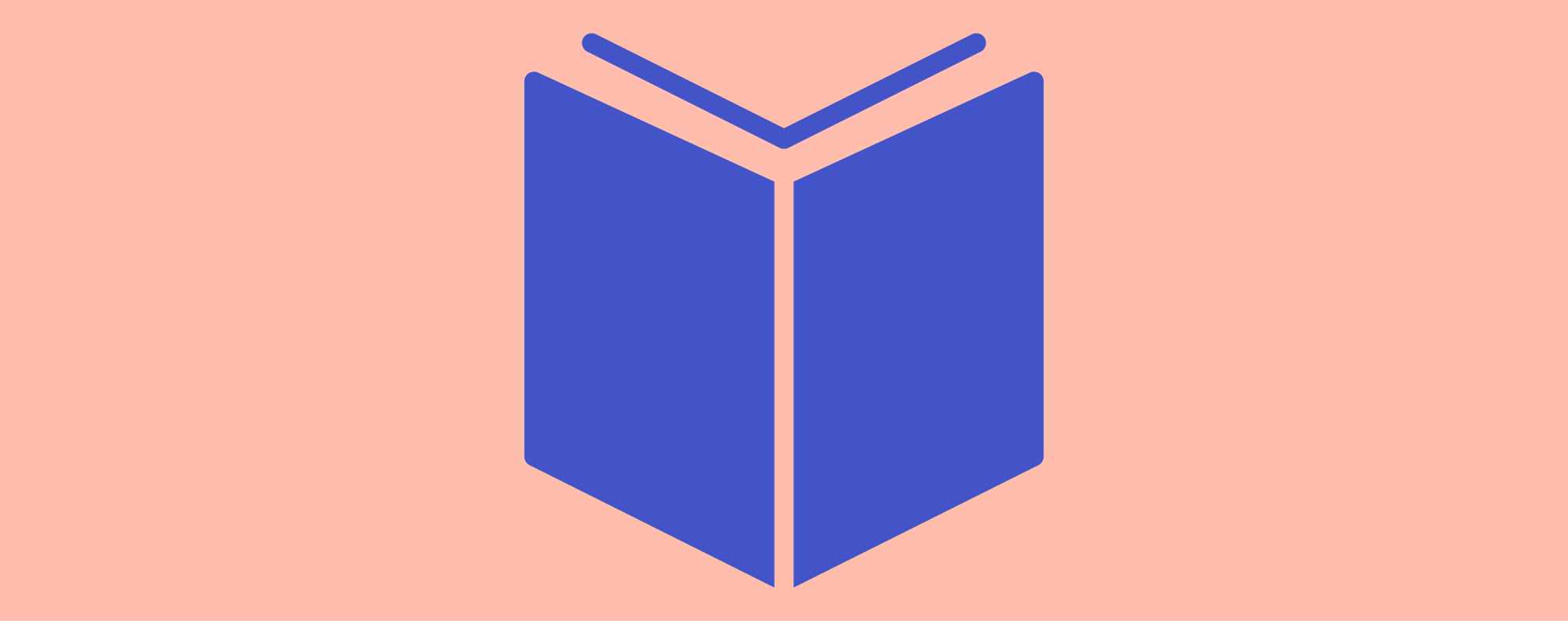 Icon image of an open blue book on a pale pink background