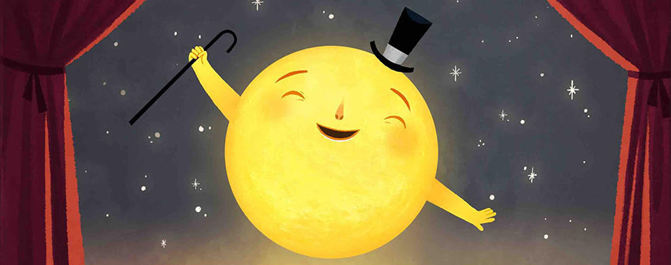 Illustration of the sun appearing on a stage with velvet curtains, smiling and wearing a top hat.
