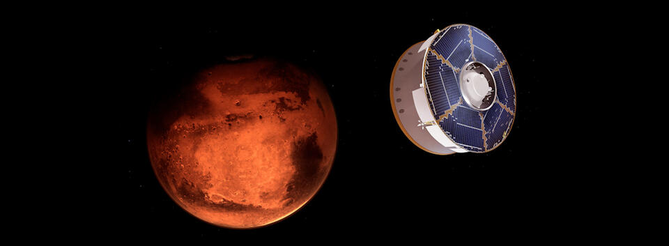 Digital illustration of a cylindrical Mars rover in space with the reddish-orange planet Mars in the background