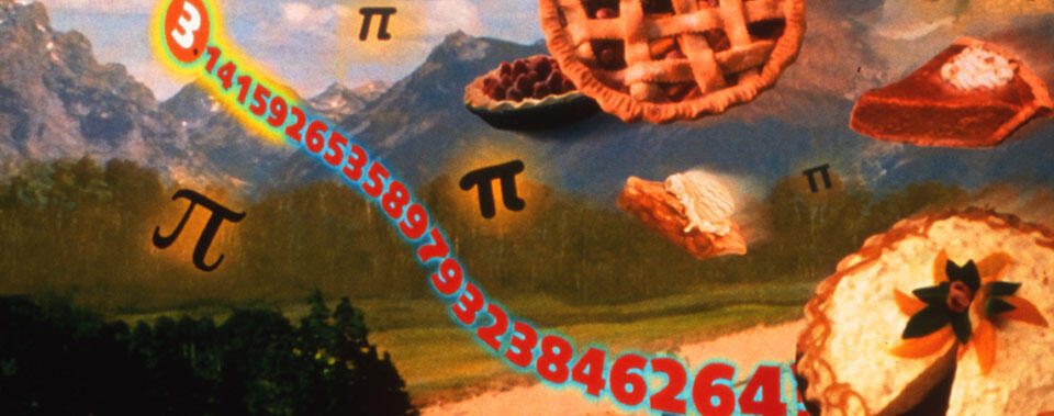 Illustration of floating pies and the mathematical constant π.