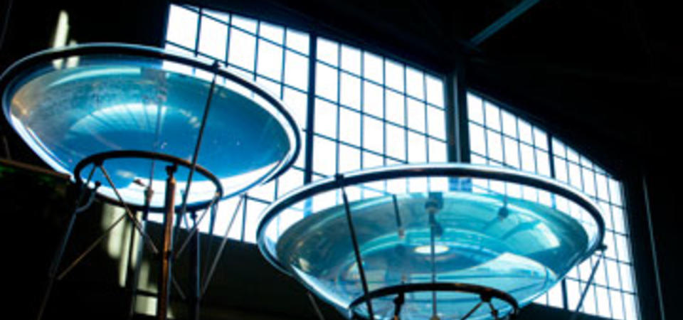 Geysers in the East Gallery created by Staff artist Shawn Lani. Image by Amy Snyder © Exploratorium, All rights reserved
