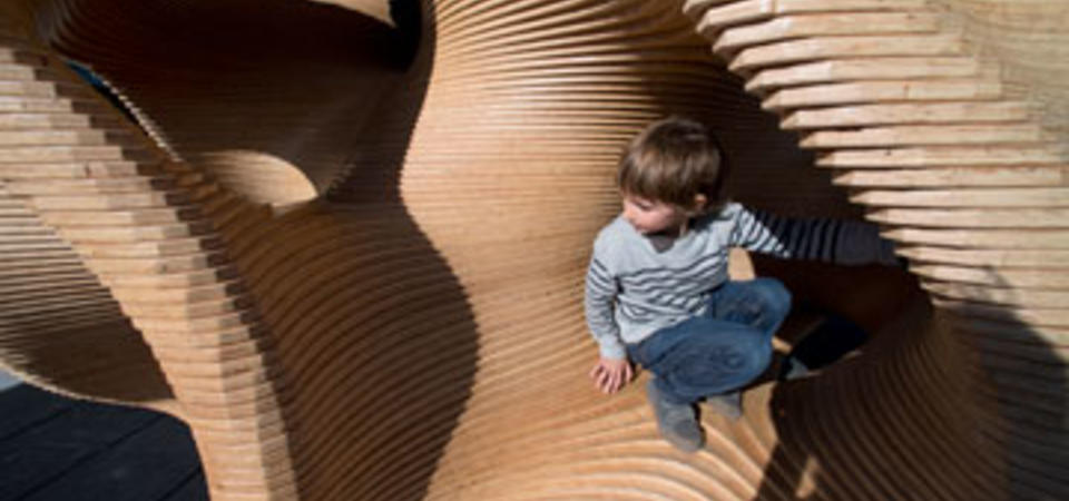 A wild mathematical playground climber in the Exploratorium's Outdoor Gallery.  Image by Amy Snyder © Exploratorium, All rights reserved