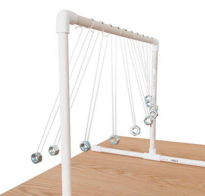 Science activity that demontrates pendulums of different lengths swinging to their own rhythms