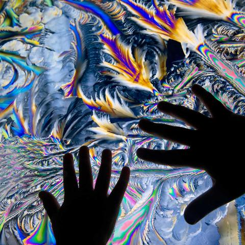 Close up of hands touching the Watch Water Freeze exhibit at the Exploratorium.