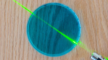 Science activity that uses gelatin to demonstrate behavior of filters and lenses