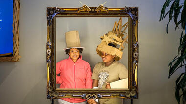 Cardboard costumes and a social media photo booth