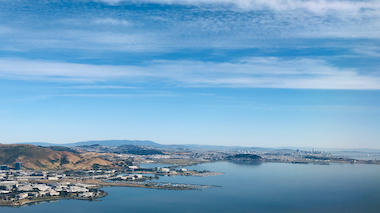 Photo: San Francisco Bay shoreline from the air (Photo: Mary Miller/Exploratorium)