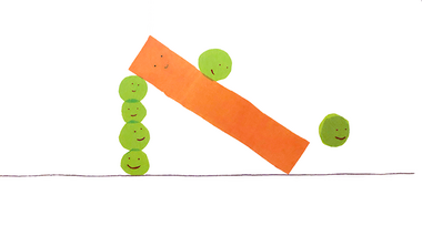 Illustration of peas sliding down a carrot