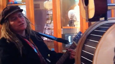 Two visitors busted out a guitar in the Tinkering Studio