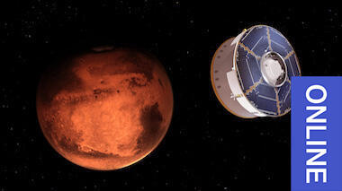 Digital illustration of a cylindrical Mars rover in space approaching the reddish-orange planet Mars
