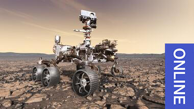 Digital illustration of a Mars rover on the dusty, orange landscape of Mars