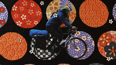 Photo collage of a man on a bicycle with a background of colorful, patterned circles