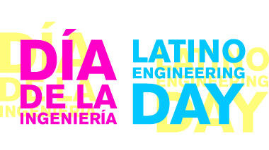 Pink, yellow, and blue logo for Día de la Ingeniería/Latino Engineering Day 2019