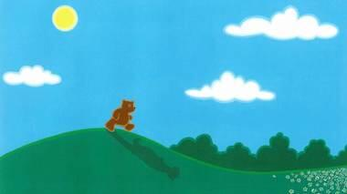 Illustration of a bear walking on two legs over a green hill, with a blue sky in the background and his shadow spilling down the hill in front of him