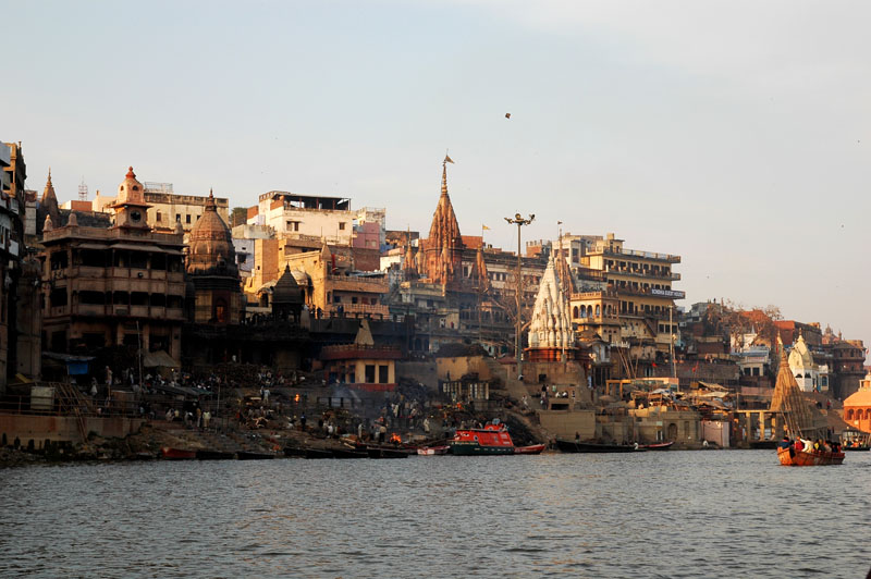 The burning ghats from the Ganges river