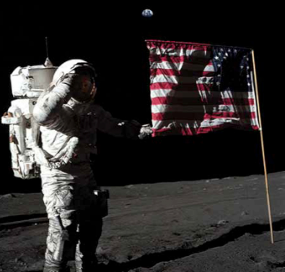 An astronaut standing on the moon.