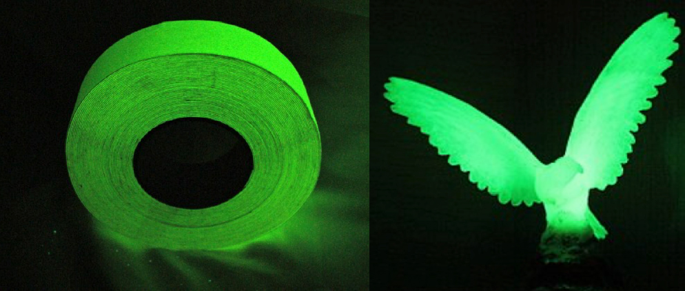 Glow in the dark products, a role of tape and a bird toy